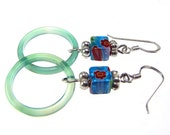 Sterling Silver Earrings Millefiore Glass and Agate