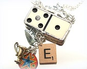 Play the Game Necklace Game Pieces Domino Soldered Mixed Media Assemblage Pendant