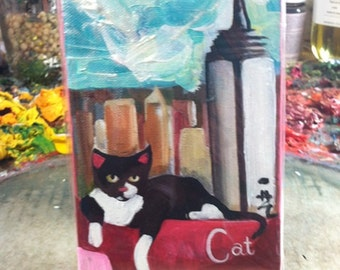 C for Cat - 4 X 6 Inch Handmade Original Painting on Canvas (Alphabet City Series) Tuxedo Cat in front of the Empire State Building in NYC