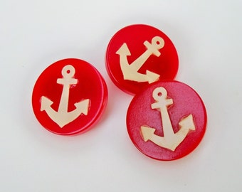 Vintage Buttons - Red with White Anchors - Ship Ahoy!