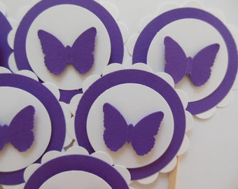 Butterfly Cupcake Toppers - Purple and White - Birthday Party Decorations - Baby Shower Decorations - Set of 6