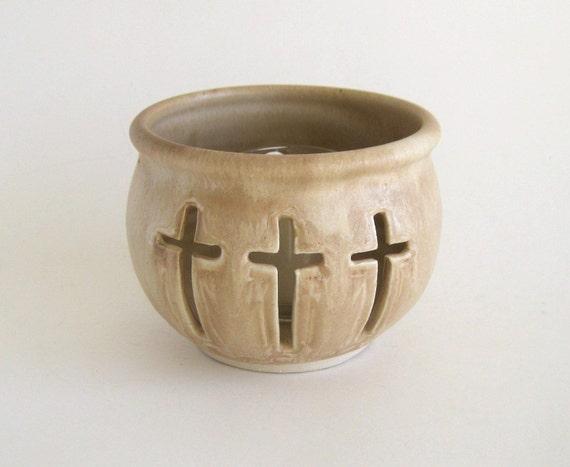 Candle Holder - 3 Crosses Logo - Pecan Glaze