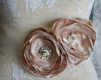Champagne sash, Champagne and lace wedding dress sash, champagne fabric flower dress sash