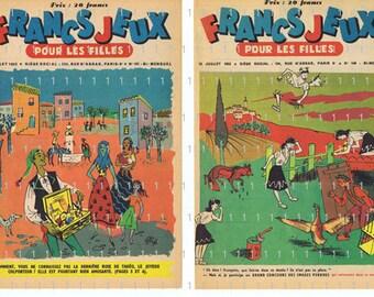 Paris.TWO Vintage Magazine Pages;French retro.colourful.fifties.home decor.kitchen.nursery.children.book page.girls.original.art.rare.unique