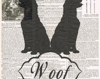 Dog.Canine.antique book page print.vintage illustration.paris.french.gift.child.nursery.den.home deco.art.pet.mans best friend.eco.whimsy