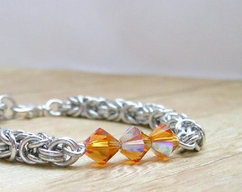 Silver and Topaz Bracelet, Shiny Aluminum and Amber Colored Crystal Chainmail Bracelet,  Aluminum Chainmaille, Novermber Birthstone Jewelry