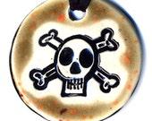 Skull and Crossbones Ceramic Necklace in Speckled Brown