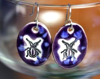 Purple Beetle Ceramic Earrings
