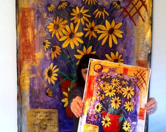 Black Eyed Susans Print 11x17 Poster Art by Surly Amy Davis Roth