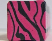 Raw polymer clay cane, millefiori, fimo, dark pink tiger stripe animal print, unbaked