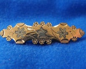 Antique Brooch, Victorian, Art Nouveau, Gold Plated with Silver Inlay, ca 1890-1900 NT-1348