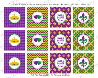 Printable Mardi Gras Cupcake Toppers - Instant Download