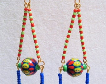 Primary Colors Painted Beaded Triangle Dangle Earrings