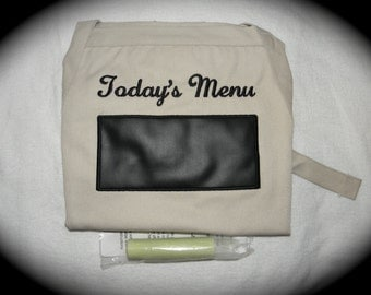 """Chalkboard APRON Today's Menu Embroidered Kitchen BBQ Barbecue 34"""" Ready to Ship rts"""