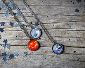Galaxy Space Pendant - Antique Silver or Bronze - Petite Solar System Planet and Nebula Necklace - Space Jewelry, Bridesmaid Gift