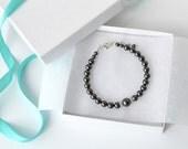 Black Pearl Bracelet, Black Jewelry, Swarovski, Pearl and Crystal Bracelet, Weddinig Party Gift, Bridesmaid Jewelry, Bridal Accessory