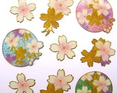 Japanese Stickers Cherry  Blossoms Iridescent And Sparkly S112