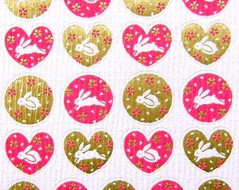 Beautiful Japanese Stickers Rabbits Sakura Cherry Blossoms Chiyogami Paper S78