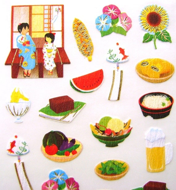Cute Japanese Stickers Summer Festival Chiyogami Paper (S117)