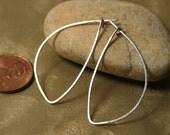 Handmade silver tone leaf hoop 40x16mm, one pair (item ID ST40G20)