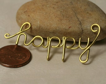 Handmade gold tone HAPPY pendant drop connector link charm, one piece (item ID GThappy104)