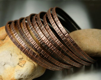 Stacking Bangle Bracelets, Antique Copper Bangles, Hand Hammered Textured Bangles, one piece  (item ID ACBW55)