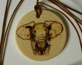 Elephant Woodburn Original Necklace with Black Cord by Pigatopia