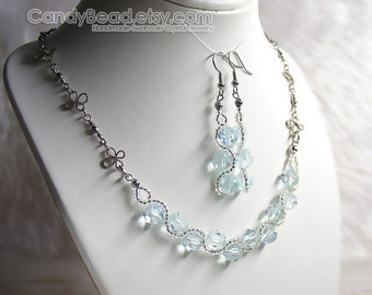Swarovski Crystal Necklace And Earrings, Light Azore Blue Set By CandyBead