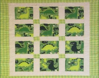 Dinosaur Baby Quilt - Baby Boy - Crib Blanket - Nursery Bedding - Shower gift - Dino's - Prehistoric - Green - flannel - Toddler - Children