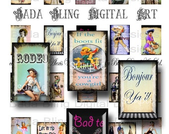 1 x 1 1/2  inch, Buckaroo Babes and Cowgirls,collage sheets for soldered pendants,INSTANT Digital Download at Checkout, cowgirls, rodeo