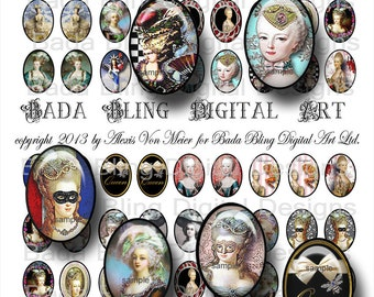 18mm x 25mm cabs,  Marie Antoinette, digital collage sheet  INSTANT Digital Download at Checkout