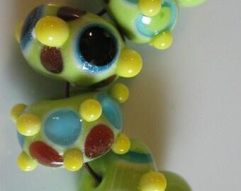 Handmade glass beads-lampwork beads-loose beads-set of six-SRA-glass blowing glass art