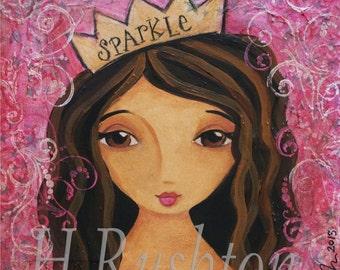 Original Art- Mixed Media Painting- Girl- Girls decor Inspirational Wall Art- 9x12