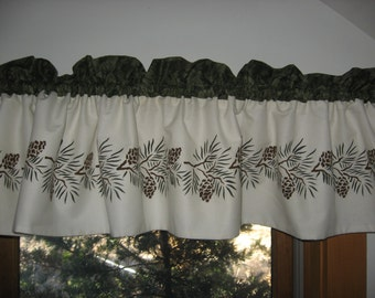 Maine Made Hand Stenciled Pinecone Northwoods Cabin Decor Lake Lodge Rustic  Curtain Window Valance