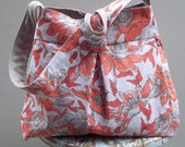 Vintage Red Floral Inspired Hobo - Reversible to Raw Linen