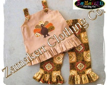 Custom Boutique Fall Brown Thanksgiving Turkey Outfit Baby Girl Clothing Pageant Dress Pant Set 3 6 9 12 18 24 month size 2T 3T 4T 5T 6 7 8