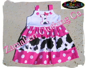 Girl Birthday Dress - Cowgirl Dress Pink Dots N Cow Tiered Jumper Ruffle Tunic Dress 3 6 9 12 18 24 month size 2T 2 3T 3 4T 4 5T 5 6 7 8