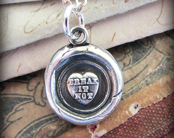 Conversation Heart Necklace - Don't Break my Heart - sweetheart necklace in eco friendly silver - Lovers Necklace - V1229