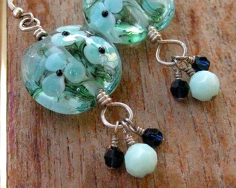 Meadow in Blue Cluster Dangle Earrings - E672