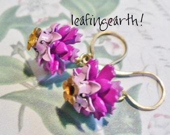 shades of orchid enamel flower earrings