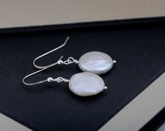 White Coin Pearl Earrings, Wedding Jewelry, Wedding Earrings, Bridesmaid Jewelry