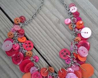 Red Orange and Pink  Button Necklace