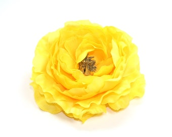 Ruffle Ranunculus in Yellow - 4 inches- Artificial Flower - ITEM 0586