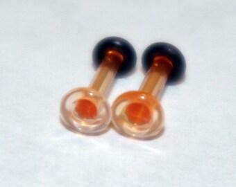16g Orange Glass plugs Body Jewelry 16 gauge