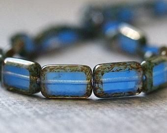 Czech Glass 8x12mm Rectangle Milky Sapphire Picasso Bead : 12 pc