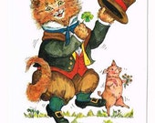 Vintage St. Paddy's Day Cat Postcard
