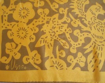 Vintage Designer Vera 70s Silk Bird print Scarf/Fall Colors Gold n Chocolate Op Art Design