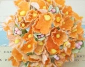 Forget Me Nots / Vintage Millinery / Orange / One Small Bouquet / Halloween / Fall