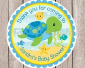 PRINTABLE Under the Sea Baby Shower Favor Tags or Stickers / Print Your Own Personalized Sea Turtle Favor Stickers / You Print - 0023