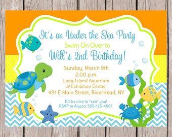 PRINTABLE Under the Sea Birthday Party Invitation / Boys Under the Sea Invitation / Sea Turtle, Fish, Turtle, Crab / You Print  - 0023